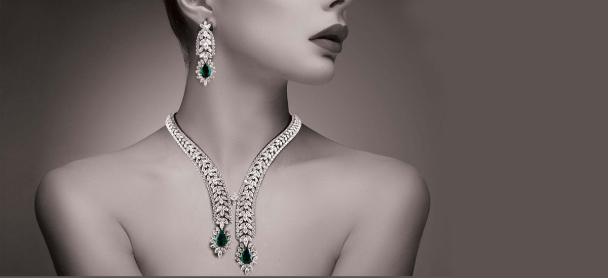 Yasser Younes Jewellery emerald and diamonds necklace and earing set.